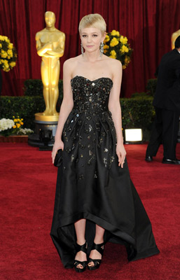 Carey Mulligan at the Oscars wearing an asymmetrical dress