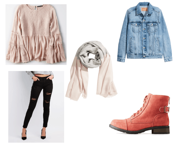 Caroline Forbes and Marceline Winter to Spring Outfit with pastel top and distressed jeans