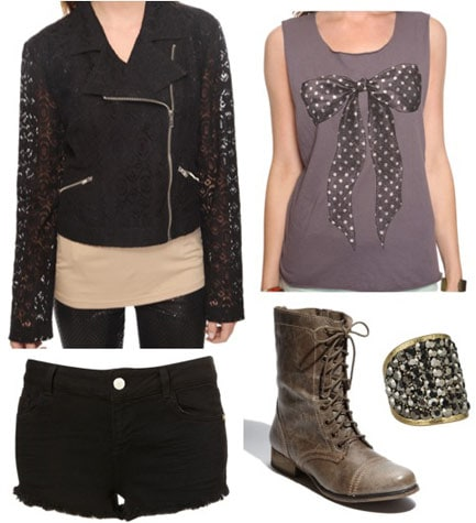 Outfit inspired by Carrie Underwood's 'bad girl' looks from her Good Girl video - Leather jacket, black denim shorts, grey tank, lace-up boots