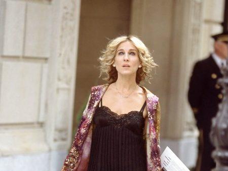 carrie bradshaw in a slip dress