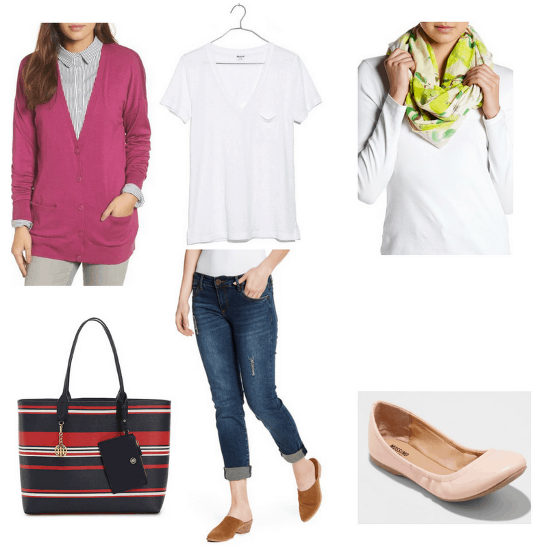 Casual Chic finals outfit with white tee, boyfriend jeans, scarf, purple cardigan, flats, and striped bag