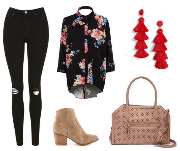 Casual Chic: Black Ripped Jeans; Tan Ankle Booties; Red Tassel Earrings; Tan Jessica Simpson Satchel; Red Tassel Earrings