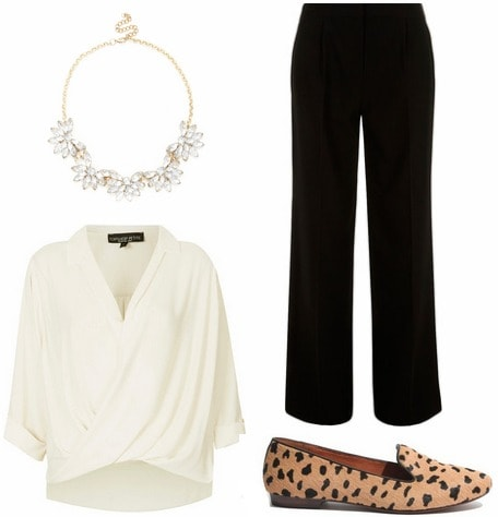Casual conference outfit white top black trousers