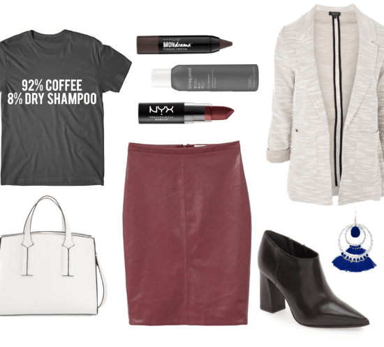 Casual Friday outfit idea for a creative office: Faux leather pencil skirt in burgundy, gray blazer, graphic tee that says 92% coffee, 8% dry shampoo, white bag, ankle booties with a pointy toe, tassel earrings, red lipstick