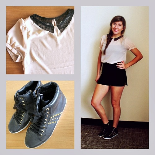 Casual high waisted shorts outfit