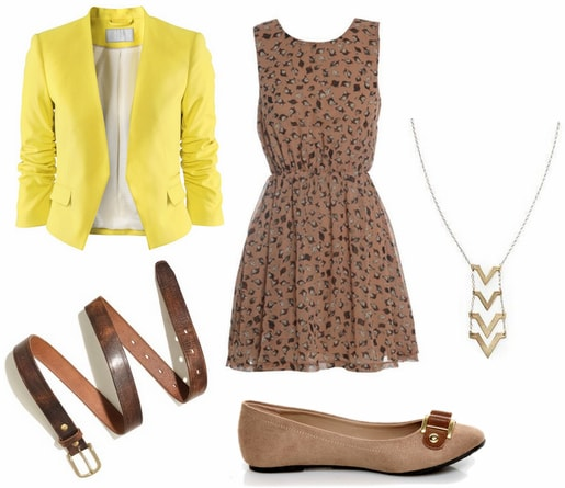 Casual look inspired by bright yellow 2012 emmy trend