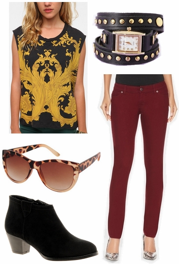 Casual look inspired by oxblood 2012 emmy trend