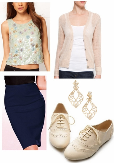 Casual look inspired by textured florals 2012 emmy trend