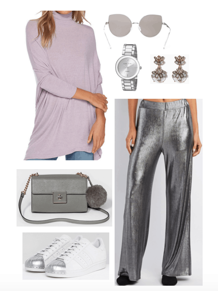 Casual palazzo pant looks with lavender sweater.