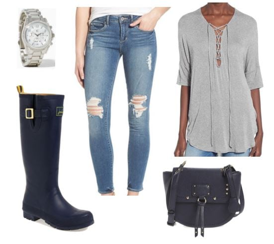 Casual look with rain boots