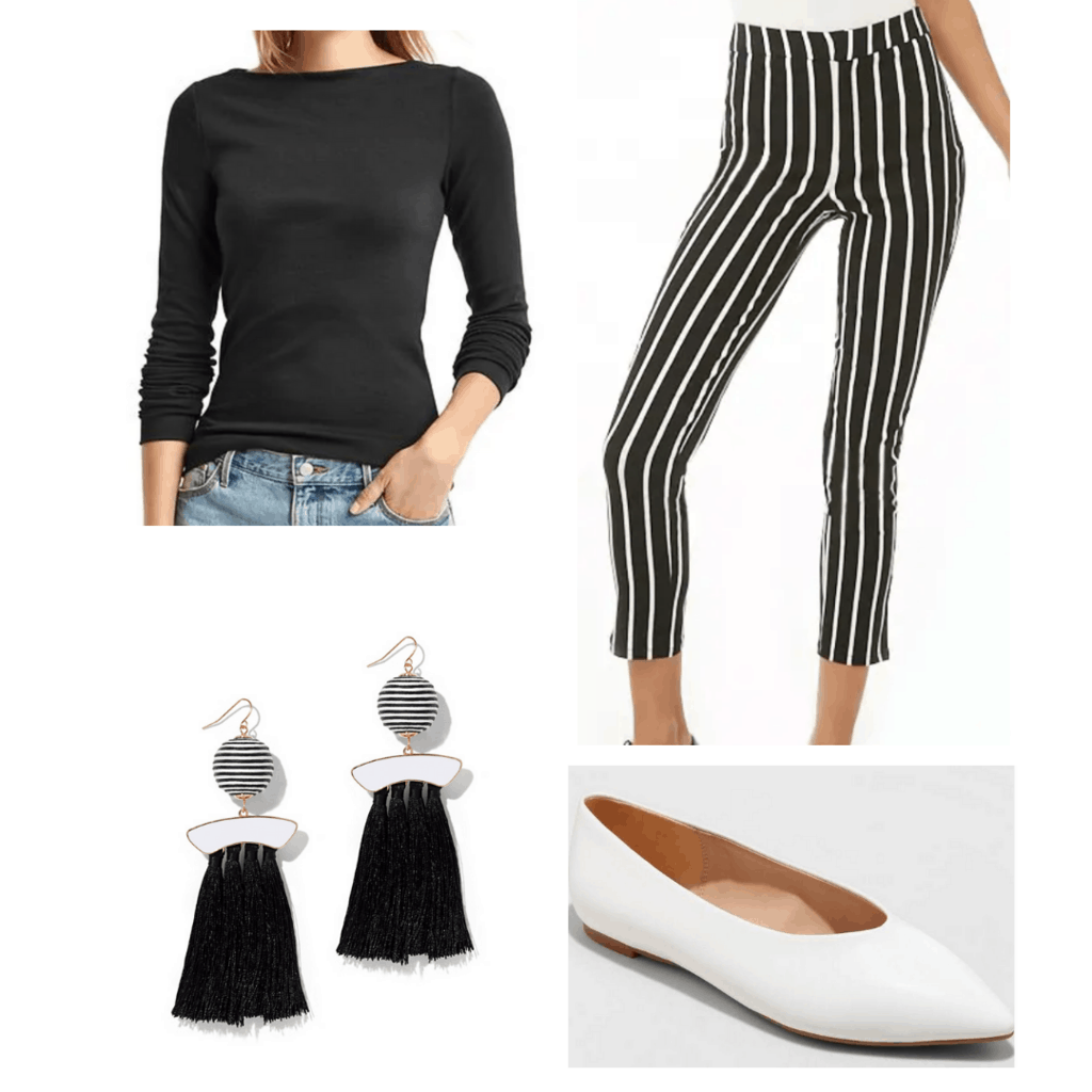 fitted black shirt with black and white striped fitted pants, white flats, and black and white tassel earrings