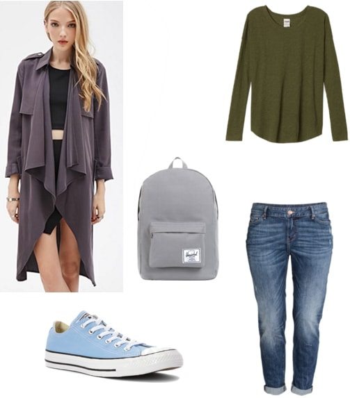 Casual trench coat outfit: Long-sleeved tee, boyfriend jeans, sneakers, backpack