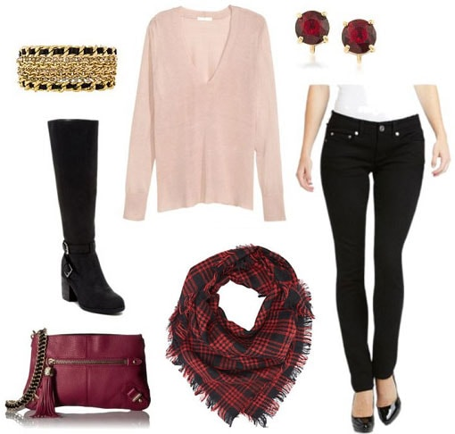 Casual Valentine's day outfit: Skinny jeans, pink sweater, over the knee boots, red scarf