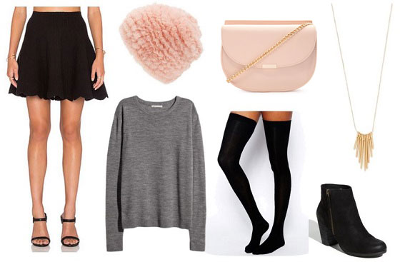 Casual valentine's day outfit idea: Sweater, mini skirt, thigh high socks, pink hat and pink bag