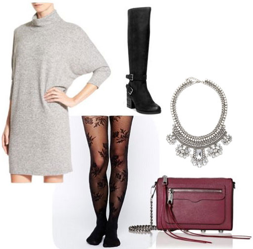 Casual valentine's day outfit: Sweater dress, lace tights, knee high boots, statement necklace