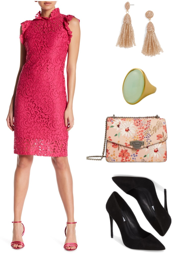 Bright pink lace shift dress with ruffled mock-neck collar and ruffled cap-sleeves, champagne-pink beaded tassel drop earrings with champagne-pink stones, gold cocktail ring with sea glass-green oval-shaped smooth stone, pink chain-strap bag with multi-colored floral print and silver hardware, black pointed-toe stiletto pumps
