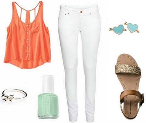 Casual white jeans outfit
