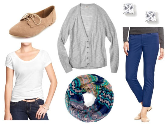 Casual work blue pants gray cardigan