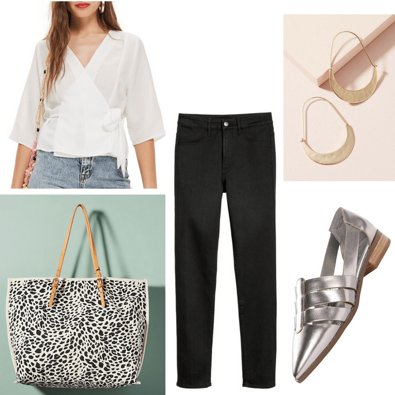 Casual work outfit: White wrap top, black skinny jeans, metallic oxfords, gold earrings, leopard print tote bag