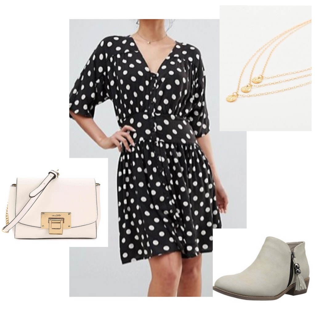 Casual work outfit: Polka dot dress with 3/4 sleeves, layered gold necklaces, pink crossbody bag, gray suede ankle boots