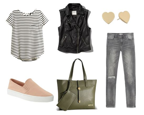 casual moto vest outfit