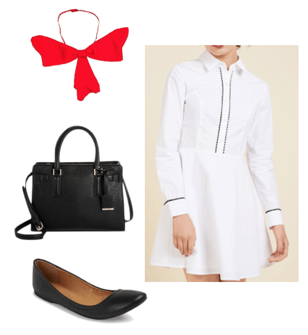 How to repurpose a costume: Cat and the Hat bow tie paired with a black and white shirtdress, black tote bag, black flats