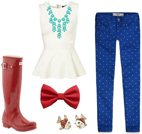 Cat in the hat outfit 1: Peplum top, blue jeans, red boots, bow