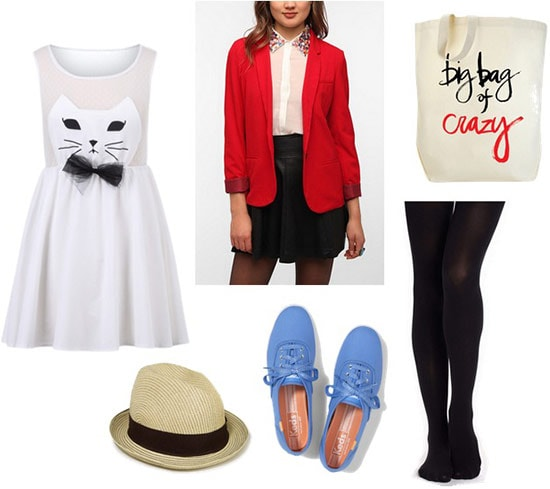 Cat in the hat outfit 2: Red blazer, cat dress, fedora hat, blue sneakers, tights, tote bag