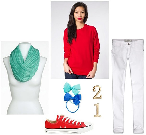 Cat in the hat outfit 3: Red sweater, aqua scarf, white jeans, blue and aqua hair bows, red sneakers