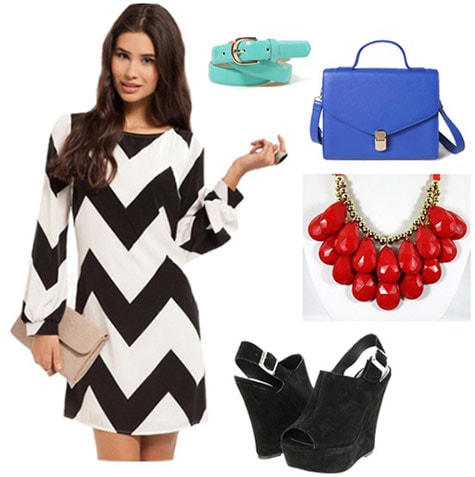 Cat in the hat outfit 4: Black and white chevron dress, wedges, red necklace, blue tote, aqua belt
