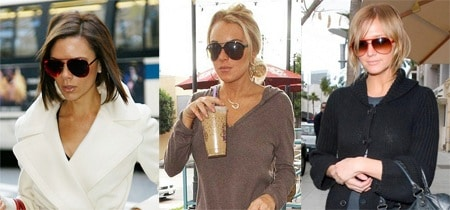 Victoria Beckham, Lindsay Lohan, and Ashlee Simpson wearing aviator sunglasses or aviators