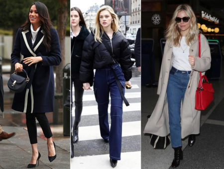 Celebrity fashion: Best celebrity street style outfits of the week including Meghan Markle's navy coat, Nicola Peltz's bell bottom jeans, and Sienna Miller's red bag and tan trench