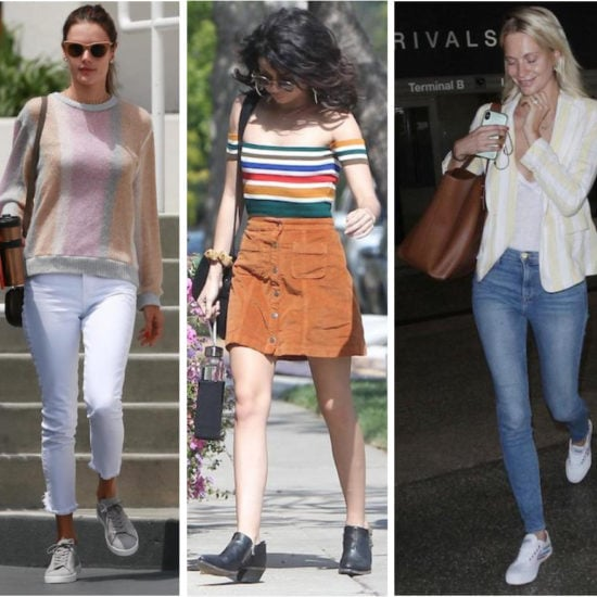 Celebrity Street Style of the Week: Alessandra Ambrosio wearing a multicolor striped crewneck sweater, white cropped ankle jeans, beige frame sunglasses, and gray low-top sneakers, Sarah Hyland wearing a rainbow striped off the shoulder top, hoop earrings, round sunglasses, a corduroy button front mini skirt, and black ankle booties, and Poppy Delevingne wearing a yellow and white striped blazer, white t-shirt, skinny jeans, a brown tote bag, and white low-top sneakers