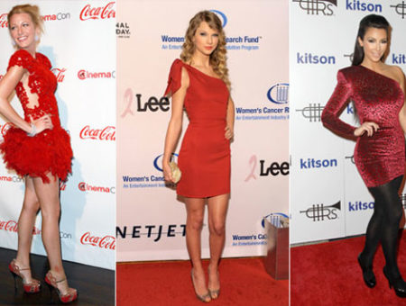 Blake Lively, Taylor Swift, and Kim Kardashian in little red dresses