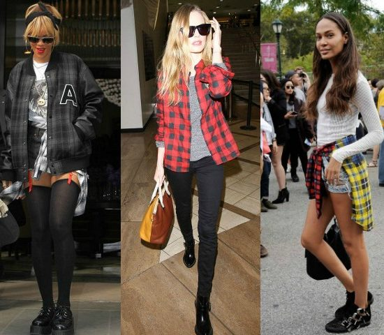 Celebs wearing grungy plaid looks