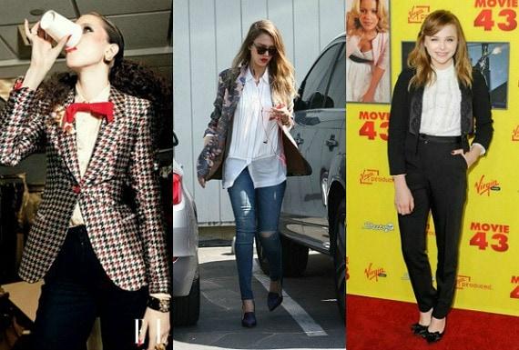Celebs wearing the tuxedo top trend