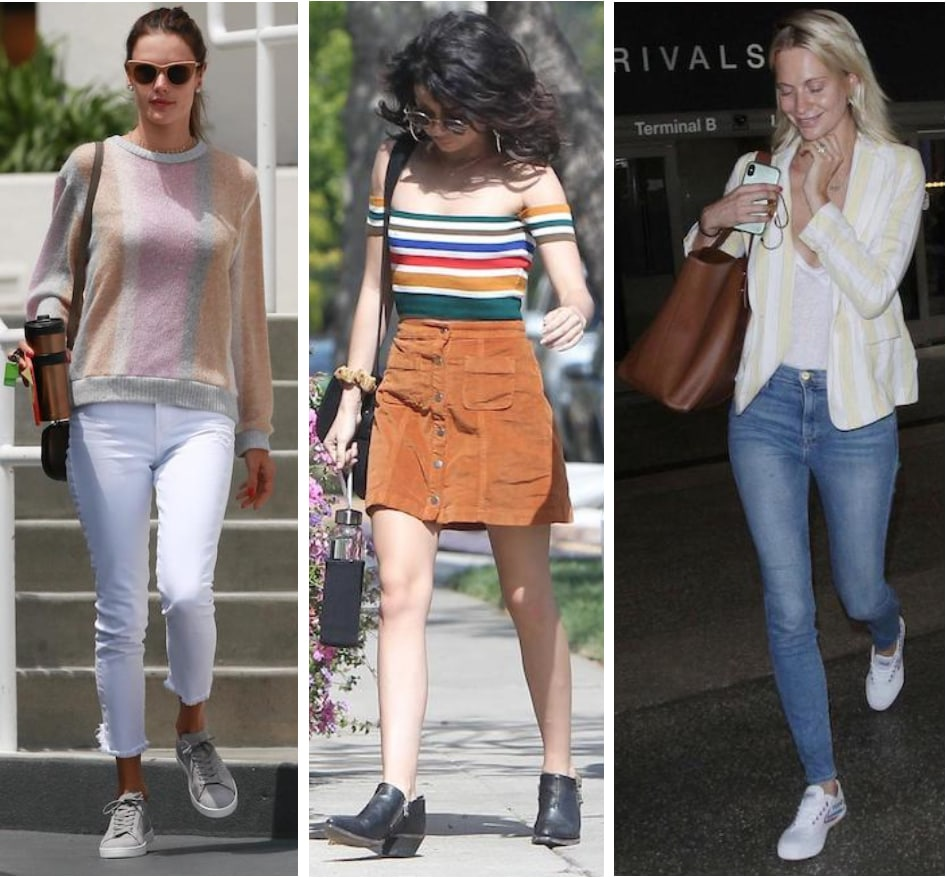 08f4f1c0f3 Celebrity Street Style of the Week: Alessandra Ambrosio wearing a  multicolor striped crewneck sweater,