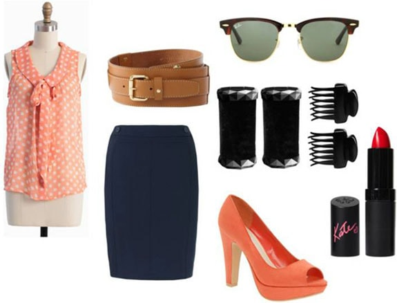 Fashion inspired by Celia Foote from The Help: Pencil skirt, polka dot blouse, belt, peep toe pumps, sunglasses