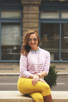 Point Park University style: Striped lavender top with mustard pants