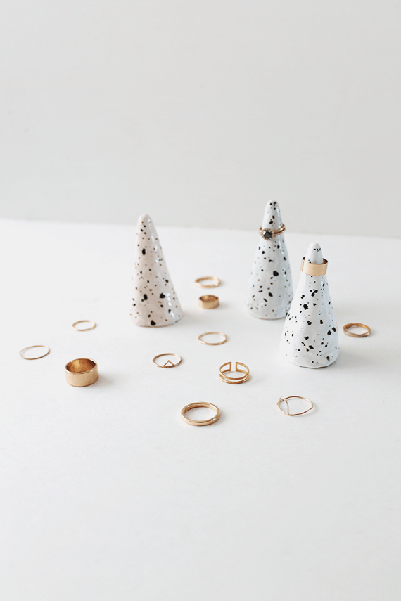 Photo with ceramic rings cones that are spotted with various rings all over.