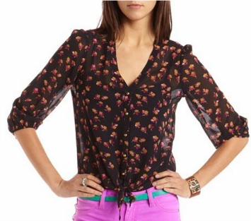 Cf fab find charlotte russe floral print chiffon blouse