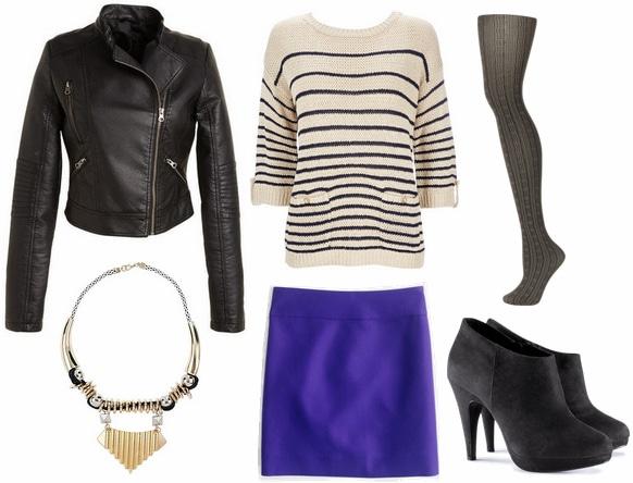 moto jacket, striped top, blue skirt, statement necklace