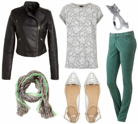 Moto jacket, cords, lace print tee, scarf