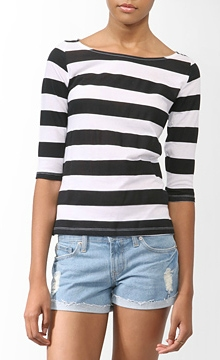 CF Fabulous Find Forever 21 Basic Striped Top in White-Black