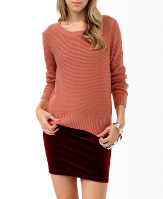CF Fabulous Find Forever 21 Open Knit Sweater in Rose