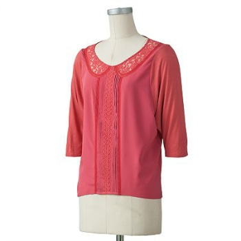 CF Fabulous Find LC Lauren Conrad Pink Lace Collar Blouse