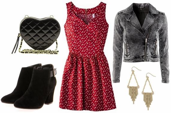 Target red dress, denim biker jacket, suede boots, heart shaped bag