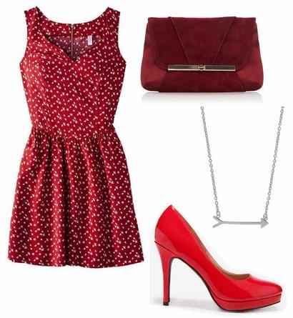 Target red dress, crimson pumps, burgundy clutch