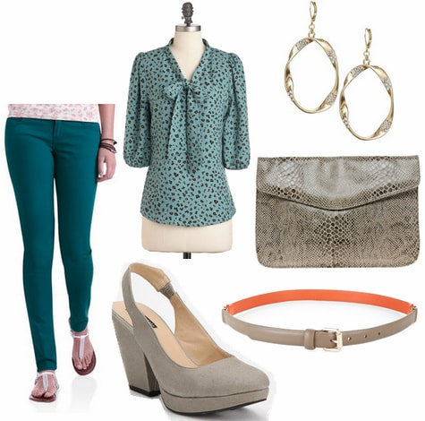 CF Fabulous Find Teal Walmart Colored Jeans Outfit 3