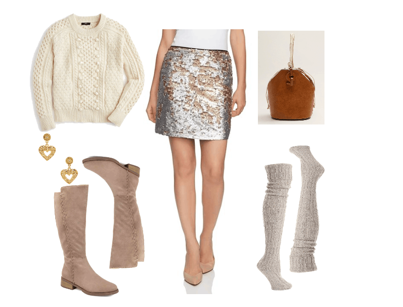 How to wear sequins during the day: Outfit idea with sequin skirt, cream colored chunky knit sweater, over-the-knee boots, heart earrings, bucket bag, knee high socks